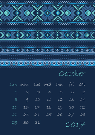 polish lithuanian: 2017 Calendar planner with ethnic cross-stitch ornament on dark blue background Week starts on Sunday Vector illustration. From collection of Balto-Slavic ornaments