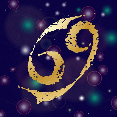 virgo: Boceto dibujado a mano zodiaco cáncer web icono. Vector ilustraciones negro sobre fondo blanco Vectores