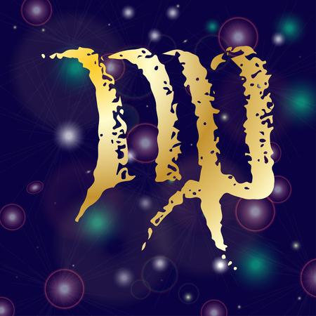 Hand-drawn sketch zodiac Virgo web icon. Vector illustrations Black on white background Illustration