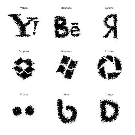 Hand-drawn sketch social media web icons set. Vector illustrations Black on white background