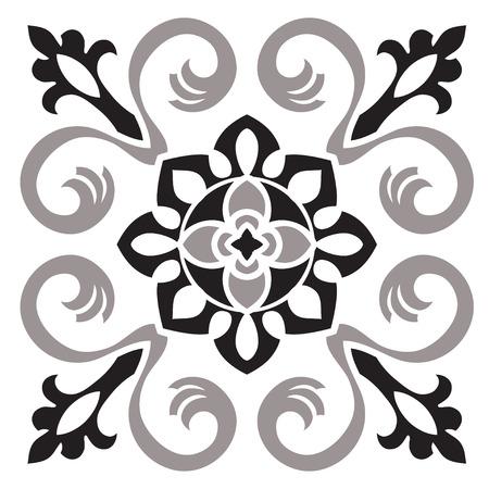 手は黒と白の色でタイルのパターンを描画します。イタリアのマジョリカ スタイル。ベクトルの図。あなたのデザイン、テキスタイル、ポスターに