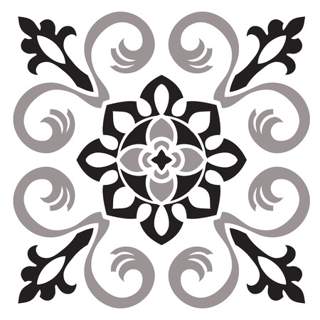 Hand tekening patroon voor tegel in zwart en wit kleuren. Italiaanse majolica-stijl. Vector illustratie. Het beste voor uw ontwerp, textiel, posters Stock Illustratie