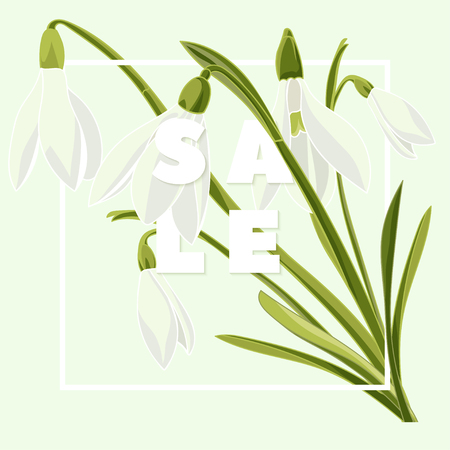 Modern typography with text Sale. Hand drown bouquet of snowdrops. Illustration