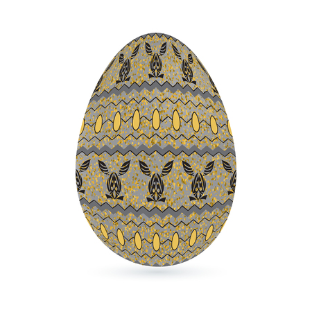 Easter stylized ethnic ornamental egg with rabbit pattern. Isolated on white background Vector illustration. Illustration