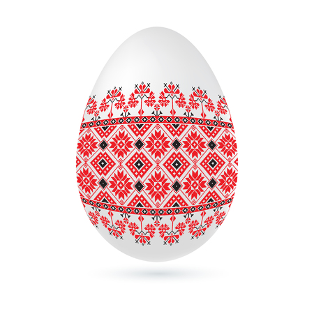 orthodoxy: Easter ethnic ornamental egg with cross stitch pattern. Isolated on white background Vector illustration.