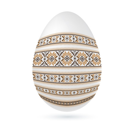 polish lithuanian: Easter ethnic ornamental egg with cross stitch pattern. Isolated on white background Vector illustration.