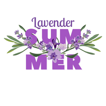 Summer floral background with beautiful lavender flowers on white background. Multicoloured typography greeting card.