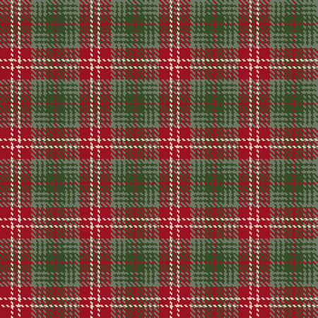 Tartan check plaid texture seamless pattern in red and green. Vector illustration.
