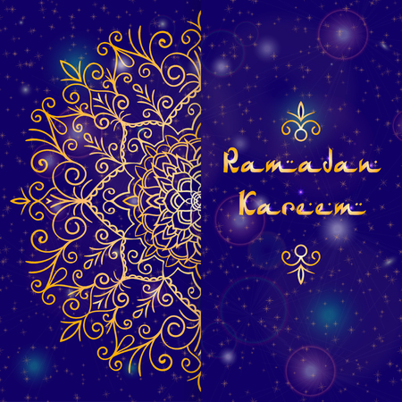 Greeting card design with text Ramadan Kareem for muslim festival in blue and golden color Vector illustrasions