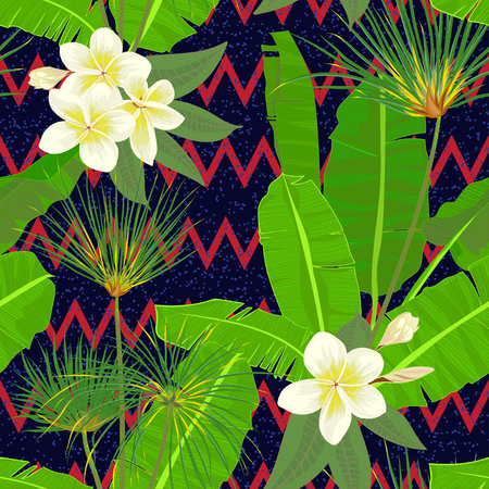 Seamless hand drawn tropical pattern with palm leaves, jungle exotic leaf on dark background. Fashion textile print, summer floral wallpaper. Vector illustration, botanical drawing