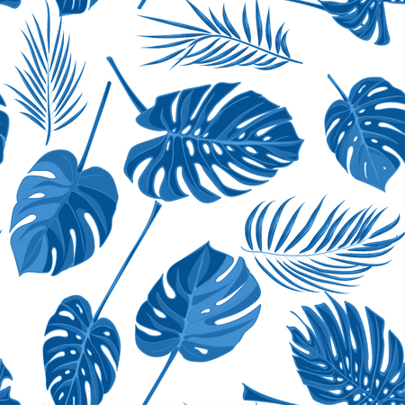 Seamless hand drawn tropical pattern with palm leaves in blue color, jungle exotic leaf on white background.