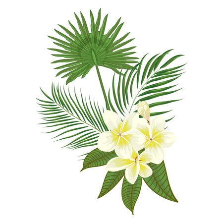 Hand drawn tropical palm leaves composition with jungle exotic flower on white background Botanical vector illustration. Fashion textile print, summer floral wallpaper. Vector illustration,