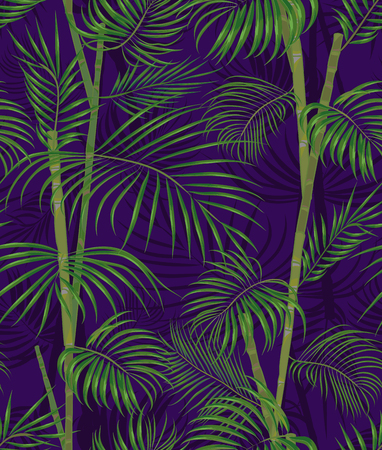 A Seamless hand drawn tropical pattern with palm leaves, jungle exotic leaf on dark background. Fashion textile print, summer floral wallpaper. Vector illustration, botanical drawing.