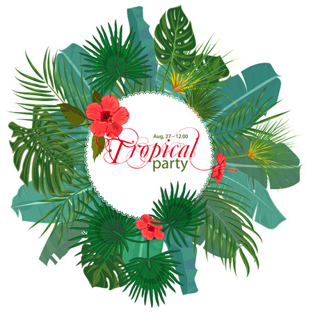 Hand drawn tropical palm leaves and jungle exotic flower flyer template on white background with seamless frame border. Banner, poster, flyer, card, postcard, cover. Vector illustration Illustration