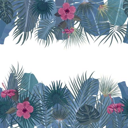 手の描かれた熱帯のヤシの葉とシームレスな境界線と白い背景のジャングルのエキゾチックな花テンプレートとテキストの配置。バナー、ポスター、フライヤー、カード、ハガキ、カバー。ベクトル図 写真素材 - 80557594