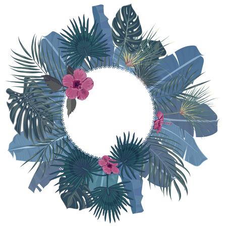 手は、あなたのテキストのための場所で白い背景で熱帯のヤシの葉とジャングル エキゾチックな花休日テンプレートを描画します。バナー、ポスタ