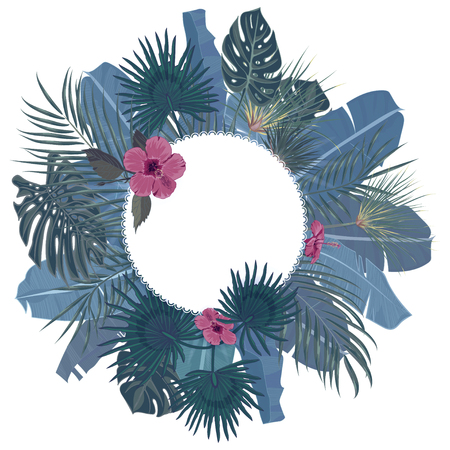 Hand drawn tropical palm leaves and jungle exotic flower holiday template on white background with place for your text. Banner, poster, flyer, card, postcard, cover. Vector illustration Illustration