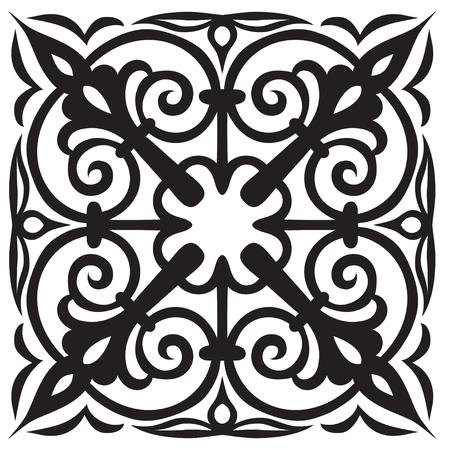 Campione disegnato a mano per piastrelle in stile orientale nei colori bianco e nero. Maiolica italiana Illustrazione vettoriale Ideale per il tuo design, tessuti, poster
