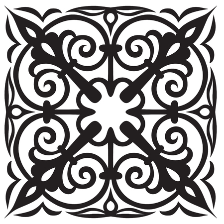 Hand-drawn sample for tile in oriental style in black and white colors. Italian majolica. Vector illustration. Best for your design, textiles, posters