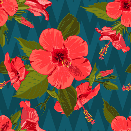 Seamless hand drawn tropical pattern with jungle exotic hibiscus flower on dark geometric background. Fashion textile print, summer floral wallpaper. Vector illustration, botanical drawing