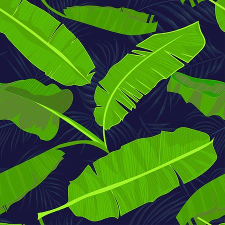 Naadloos hand getrokken tropisch patroon met palmbanaanbladeren, wildernis exotisch blad op donkere achtergrond. Mode textieldruk, zomer bloemenbehang. Vectorillustratie, botanische tekening Stock Illustratie
