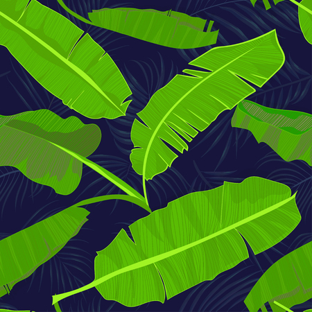 Seamless hand drawn tropical pattern with palm banana leaves, jungle exotic leaf on dark background. Fashion textile print, summer floral wallpaper. Vector illustration, botanical drawing Illustration