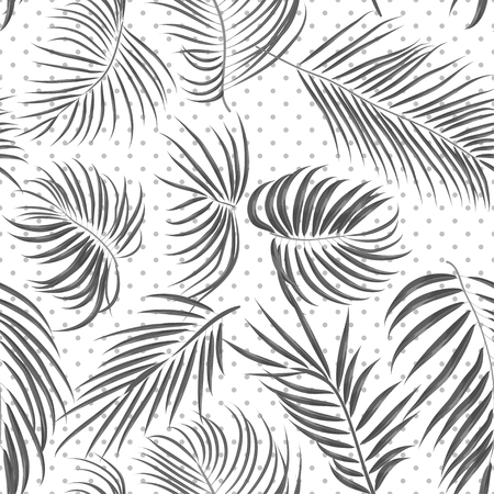 areca: Seamless hand drawn tropical pattern with areca leaves, jungle exotic leaf in black and white color on polka dot background.