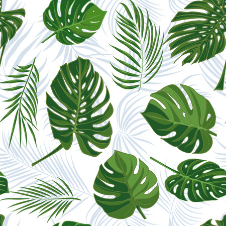 Seamless hand drawn tropical pattern with palm leaves in blue color, jungle exotic leaf on white background. Vector illustration, botanical drawing Illustration