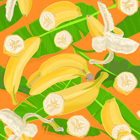 Seamless hand drawn tropical pattern with palm leaves, jungle exotic leaf and banana fruit on orange background. Fashion textile print, summer floral wallpaper. Vector illustration, botanical drawing