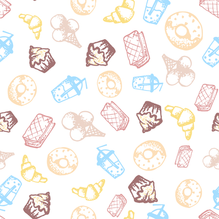 donut style: Food hand-drawn sketch line icons seamless pattern with icecream, juice, donut, croissant on white background. Vector illustrations Illustration