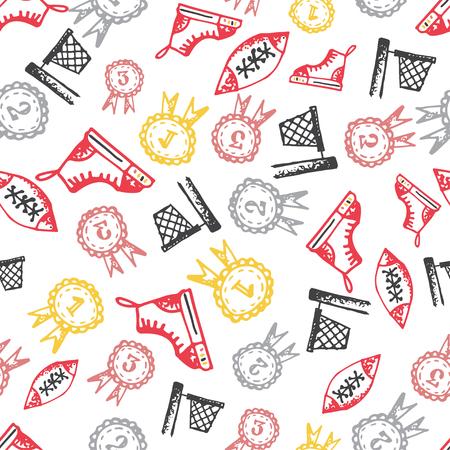 Nahtlose Muster Mit Handgezeichneten Doodle Symbole, Zurück Zu ...
