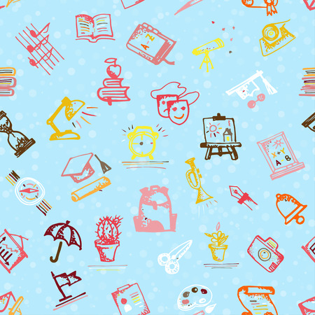 Seamless pattern with hand-drawn doodle icons, back to school theme. Light blue background. Low color vector illustration. Illustration
