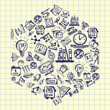 Back to school. Hand drawn school icons and symbols on notebook page. Vector illustration