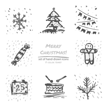 calendar icon: Christmas hand drawn sketch icons on white background Few color tones Vector illustration