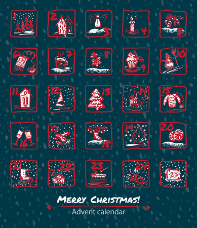 Advent Calendar 25 days of Christmas. Set icons are drawn by hand, ink, brush. Template vector illustration