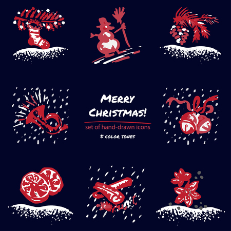 christmas tree illustration: Christmas hand drawn sketch icons on dark blue background Few color tones, red, white, gray. Vector illustration
