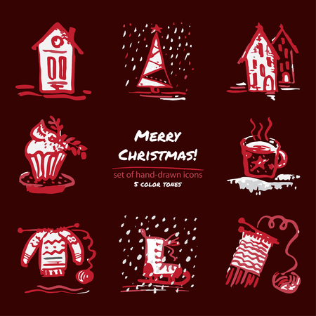 Christmas hand drawn sketch icons on dark red background Few color tones, red, white, gray. Vector illustration Ilustrace