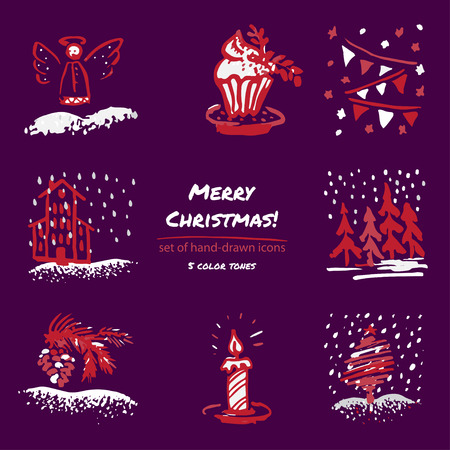 Christmas hand drawn sketch icons on dark purple background Few color tones, red, white, gray. Vector illustration Reklamní fotografie - 83993640