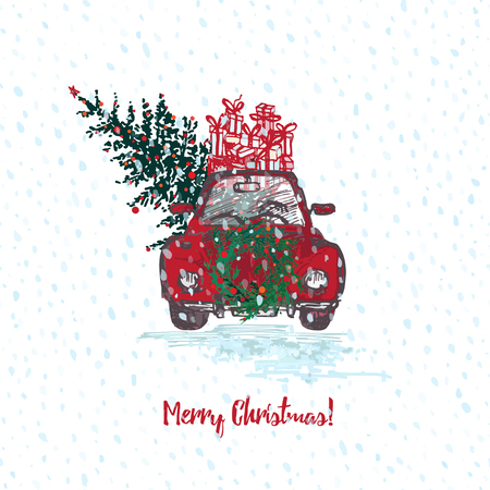 Festive Christmas card. Red car with fir tree decorated red balls and gifts on roof. White snowy seamless background and text Merry Christmas. Vector illustrations Illustration