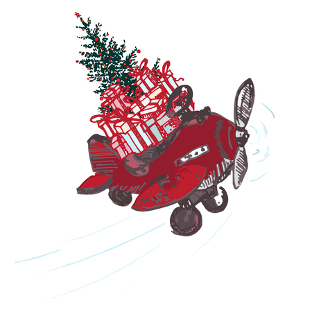 Festive Christmas card. Red airplane with fir tree decorated red balls and gifts on roof isolated on white background. Vector illustrations