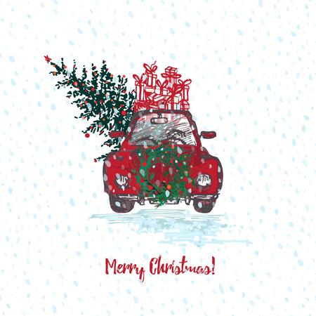 Festliche Weihnachtskarte. Rotes Auto mit Tannenbaum verzierte rote Bälle und Geschenke auf Dach. Weißer schneebedeckter nahtloser Hintergrund und Text frohe Weihnachten. Vektor-Illustrationen