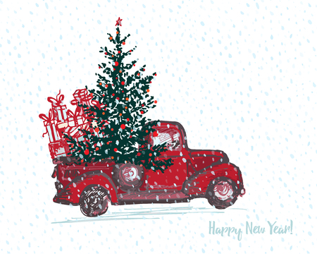 Festive New Year 2018 card. Red truck with fir tree decorated red balls White snowy seamless background. Vector illustrations