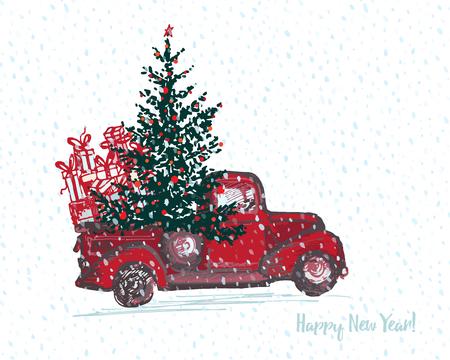 Tarjeta festiva de año nuevo 2018 Camión rojo con abeto decorado bolas rojas Blanco nevado fondo transparente. Ilustraciones vectoriales Ilustración de vector