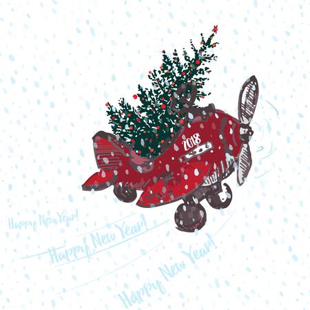 Carte festive de nouvel an 2018. Avion rouge avec sapin décoré de boules rouges Fond transparent enneigé blanc. Illustrations vectorielles