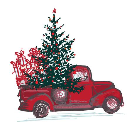 Tarjeta festiva de año nuevo 2018 El camión rojo con el árbol de abeto adornó las bolas rojas aisladas en el fondo blanco. Ilustraciones vectoriales
