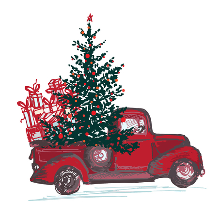 Festive New Year 2018 card. Red truck with fir tree decorated red balls isolated on white background. Vector illustrations