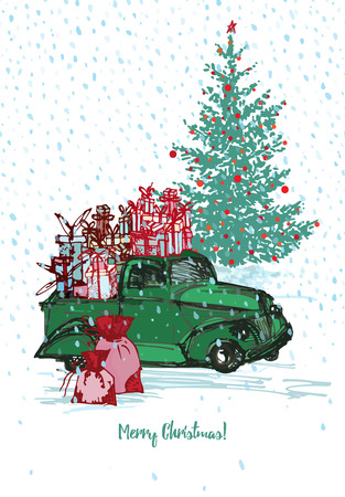 Festive New Year 2018 card. Green truck with fir tree decorated red balls White snowy seamless background. Vector illustrations Illustration