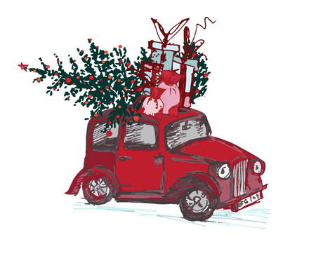 Festive New Year 2018 card. Red taxi cab with fir tree decorated red balls isolated on white background. Vector illustrations Illustration
