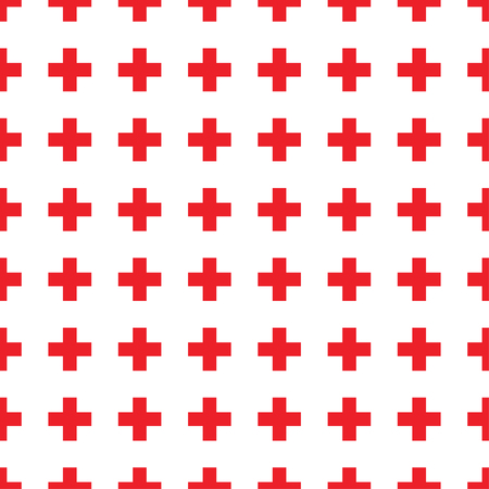Abstract seamless pattern with red crosses on white background. Modern Swiss design in bauhaus style. Good idea for textile, wallpaper, shopping poster, wrapping paper. Vector illustrations Vettoriali