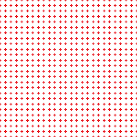 Abstract seamless pattern with red crosses on white background. Modern Swiss design in bauhaus style. Good idea for textile, wallpaper, shopping poster, wrapping paper. Vector illustrations Vectores
